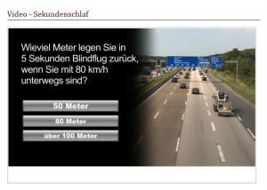 Beispielfrage: Wieviel Meter legen Sie in 5 Sekunden Blindflug zurück, wenn Sie mit 80km/h unterwegs sind?