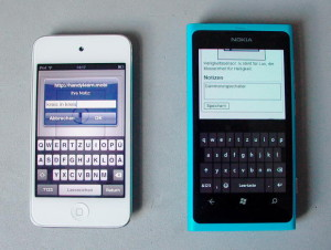 Dialog in iOs und Alternative mit Textfeld in Windows Mobile